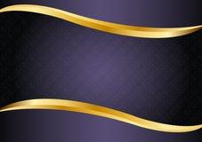 Luxepurple met gouden lijnen vectorontwerp als achtergrond Stock Afbeeldingen