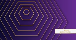 Luxery background. Pattern of gold elegant lines on a gradient purple background. Hexagon wallpaper vector illustration eps 10. royalty free illustration