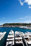 Luxery Monaco. Luxery yachts in the Monte Carlo harbour, Monaco Royalty Free Stock Photos
