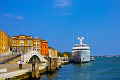 Luxery yacht. In venice, italy Stock Photo