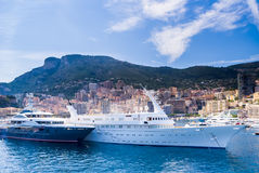 Luxery yachts in the Monte Carlo harbour, Monaco,. France Royalty Free Stock Photos