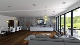 Luxewoonkamer met mening aan groen golf royalty-vrije illustratie
