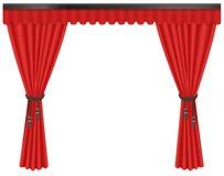 Luxo aberto, escarlate caro das cortinas de seda vermelhas das cortinas de veludo isoladas no fundo branco ilustração royalty free