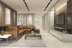 luxo da rendição 3d e sala de visitas moderna com sofá de couro Imagens de Stock