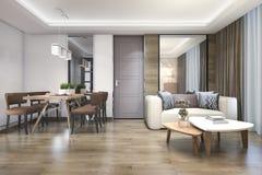 luxo de madeira da rendição 3d e sala de visitas e sala de jantar modernas Fotos de Stock