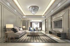 luxo de madeira da rendição 3d e sala de visitas e sala de jantar modernas Imagens de Stock Royalty Free