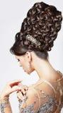 Luxo. Modelo de forma com Updo na moda - T trançado Imagens de Stock Royalty Free