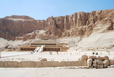 Luxor. The mortuary temple of Queen, one of the few female pharaohs, in Egypt Royalty Free Stock Photography