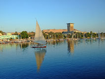 Luxor on the bank of the river nile, a popular place for tourist. Luxor on The River Thames is a popular place for tourist boats to moor prior to crusing the Stock Photo