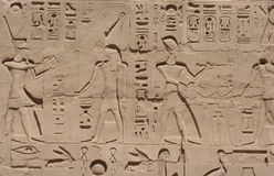 Luxor Carvings. Ancient carvings on a wall in Luxor, Egypt Stock Photos