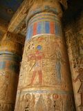 Luxor: Columns With Pharaoh Carvings, Medinet Habu Stock Photography