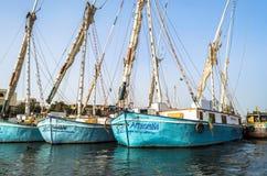 Luxor, Egito - 18 de janeiro de 2016: barcos de pesca da tradição no Nile River Imagens de Stock Royalty Free