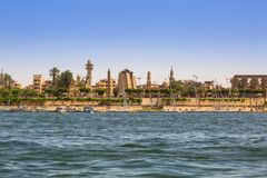 Karnak temple at Nile river in Luxor, Egypt royalty free stock photos