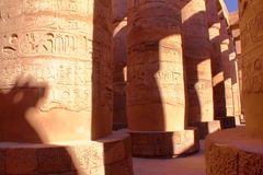 LUXOR, EGYPT: The columns of the Temple of Amun at Karnak temple. The columns of the Temple of Amun at Karnak temple Royalty Free Stock Images