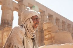 A Beduin man in the Temple city of Luxor in in the Egypt, Luxor city. Luxor, Egypt - Feb 19 2019: a Beduin man in the Temple city of Luxor in in the Egypt, Luxor stock image