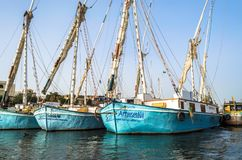 Luxor, Egypt - January 18, 2016: tradition fishing boats on the Nile river royalty free stock images