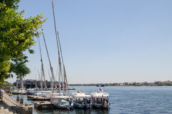 Luxor, Egypt, July 23 2014. Boats on the Nile. Royalty Free Stock Photo