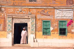 LUXOR, EGYPT - NOVEMBER 4, 2011: Colorful house facade in old Gurna village on the West bank of the Nile Stock Photography