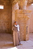 LUXOR, EGYPT - OCTOBER 31, 2011: Portrait of a guard at the temple of Hathor in Deir el Medina Royalty Free Stock Image