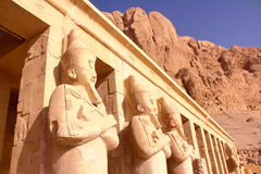 LUXOR, EGYPT: Osiris statue at Hatshepsut temple Stock Images