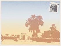 Luxor Egypten - gammal vykort stock illustrationer