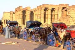 LUXOR EGYPTEN - NOVEMBER 4, 2011: Turist- kaleschhästvagnar utanför den Luxor templet Arkivfoton