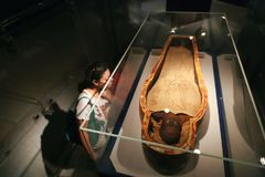 Ancient Mummy. Luxor Museum at Egypt contain Ancient antiques and artifacts aged about 2000 year B.C. Ancient antiques and artifacts at Luxor Museum at Egypt stock photography