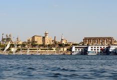 Luxor, Nile, Egypt. Beautiful landscape of the Nile - mixing time Royalty Free Stock Photos