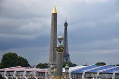 Luxor obelisk i wieża eifla, Paryski Francja Zdjęcie Stock