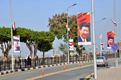 Luxor prepara para o presidente a visita de Xi Jinping chinês Imagens de Stock