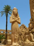 Luxor : statue géante de Ramses II dans le temple de Karnak Photo libre de droits