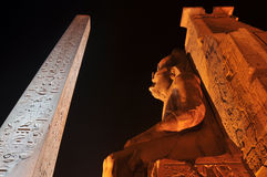 Luxor Temple. The Statue of Ramesses II and the Obelisk in the Luxor Temple Stock Photos