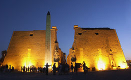 Luxor Temple, Egypt. Tourists in front of the Luxor Temple, Egypt Stock Photos
