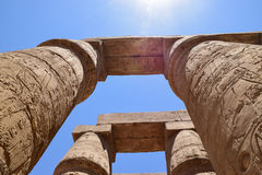 Luxor. The temple of the god Amon Ra. Columned hall of the temple of the god Amon Ra at Luxor Royalty Free Stock Photos