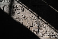 Luxor Temple, Hieroglyphics. Light and Shadow Stock Photo