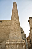 Luxor temple left obelist at entrance Royalty Free Stock Photo