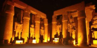 Luxor temple at the night, Egypt Stock Photos