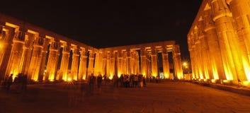 Luxor temple at night. Luxor, Egypt. Sun court in Luxor temple at night. Luxor, Egypt stock image