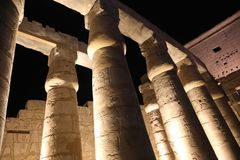 Luxor Temple at Night. Night view of Luxor Temple with night lights, Egypt Royalty Free Stock Photo