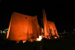 Luxor Temple - Night view. Night view of Luxor Temple with night lights, Egypt Stock Photos