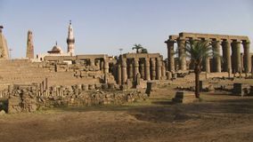 Luxor temple panning shot. Panning shot of Luxor temple Egypt stock video