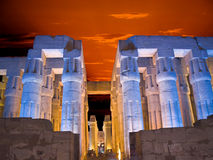 Luxor temple at sunset. Hypostyle hall of Luxor temple, Thebes. Egypt series Stock Photos