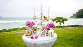 Luxry Wedding setting on the beach Stock Photography