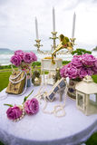 Luxry Wedding setting on the beach Royalty Free Stock Photo