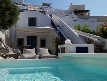 Luxueus hotel op zonnige dag royalty-vrije stock foto's