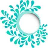Luxueus kader van roze bloemen over blauwe achtergrond Stock Foto