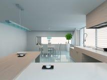 Luxueus modern keukenbinnenland royalty-vrije illustratie