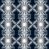 Luxueus naadloos patroon met metaal blauw decoratief ornament op donkerblauwe achtergrond Royalty-vrije Stock Afbeelding
