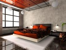 Luxueuze binnenlands van slaapkamer Stock Afbeeldingen