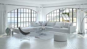 Luxueuze heldere woonkamer met grote vensters royalty-vrije illustratie